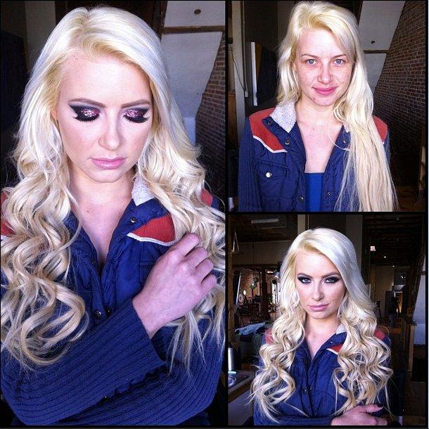 Pornostar Anikka Albrite ungeschminkt und geschminkt